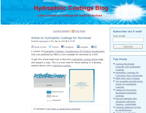 New Hydrophilic Coatings Blog