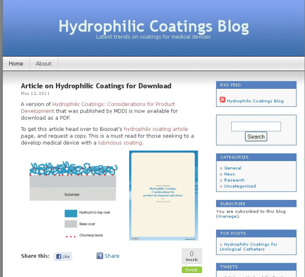 Old Hydrophilic Coatings Blog