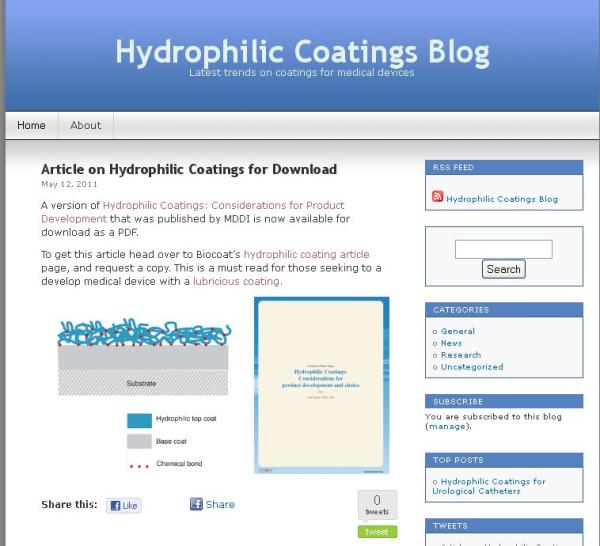 Old Hydrophilic Coatings Blog
